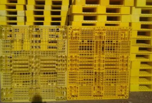پالت پلاستیکی سفید رنگ و زردرنگ