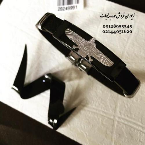 دستبند عمده چرم و استیل فروهر در زیوران