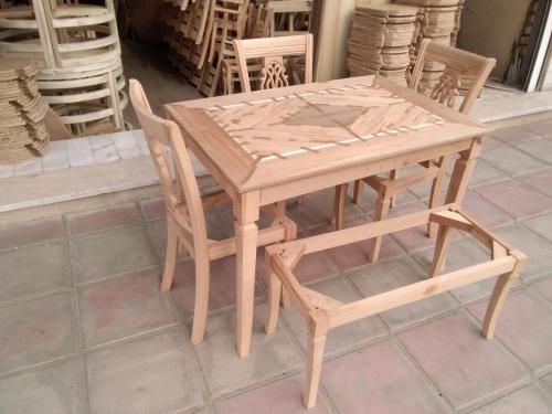 تولید و ساخت میز و صندلی چوبی خام
